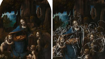 Verborgen werk onder 'Maagd op de rotsen' van Leonardo Da Vinci ontdekt