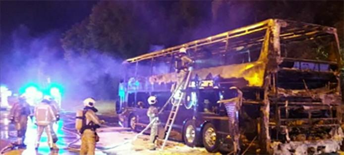 Le car a été complètement détruit par les flammes