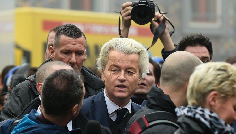 Geert Wilders afgelopen weekend in Spijkenisse, waar hij zijn campagne aftrapte. Beeld afp