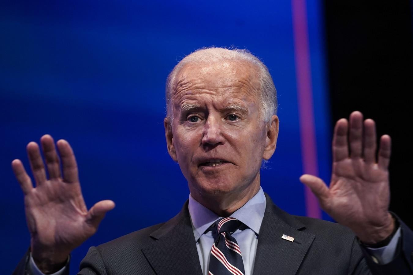 Democratische presidentskandidaat Joe Biden tijdens zijn toespraak in Delaware.