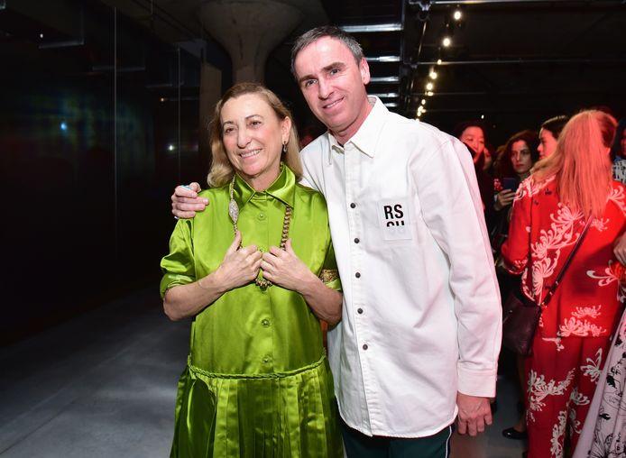 Miuccia Prada et Raf Simons en 2018.
