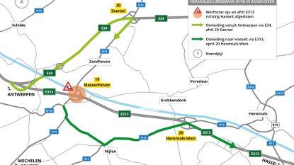 Op- en afrit van E313 richting Hasselt gaat twee en een halve maand dicht