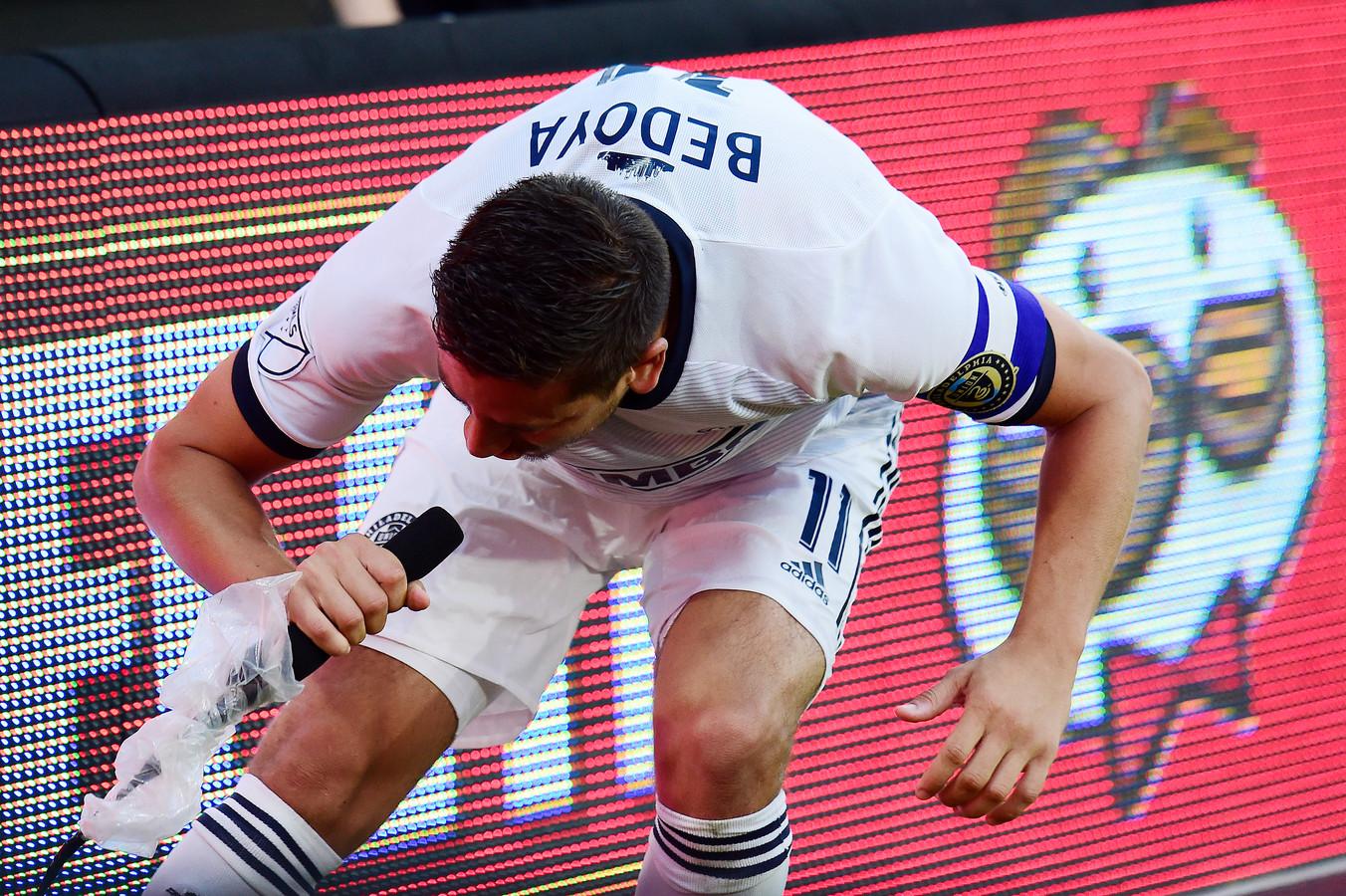 Alejandro Bedoya maakt zijn statement na zijn goal.