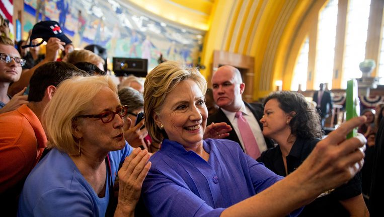 Clinton op campagne in Ohio. Beeld null