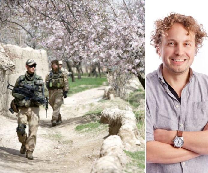 Een militaire patrouille langs bomen in bloei, in Uruzgan. Prachtige foto, vond columnist Niels Herijgens, maar kon je dit eigenlijk wel gewoon mooi vinden?