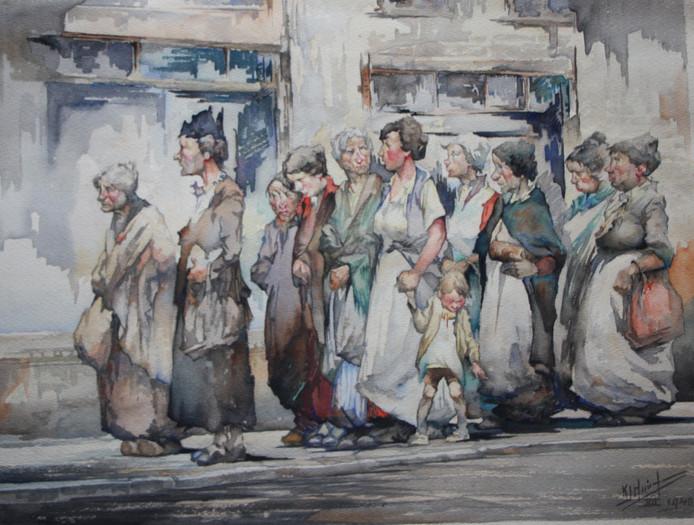 K.J. Huineman: Cola. Por pan en la guerra, 1948, waterverf.