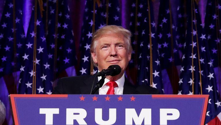 Donald Trump tijdens zijn overwinningsspeech. Beeld afp