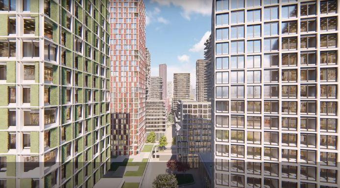 Een impressie uit het YouTube-filmpje dat de gemeente Eindhoven liet maken over Internationale Knoop XL rond de Fellenoord. Het is een van de grootste geplande woningbouwontwikkelingen voor de komende jaren.