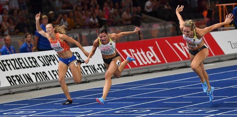 Nadine Visser baalt, ze wordt vierde. Beeld AFP