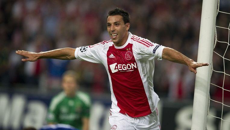 Mounir El Hamdaoui van Ajax heeft de 2-0 gescoord tegen Dinamo Kiev. Beeld