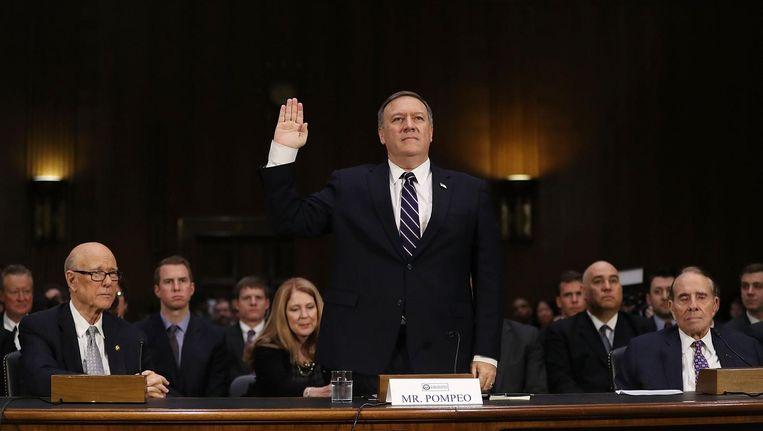 De hoorzitting in de Amerikaanse Senaat over de benoeming van Michael Pompeo als nieuwe baas van de CIA had meer weg van een verwoede poging een uitslaande brand te blussen. Beeld getty