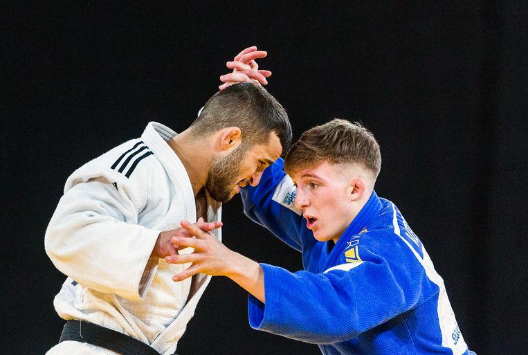 Tornike Tsjakadoea (wit) en de belg Jorre Verstaeten tijdens de Judo Grand Prix 2018 in Den Haag. Beeld null