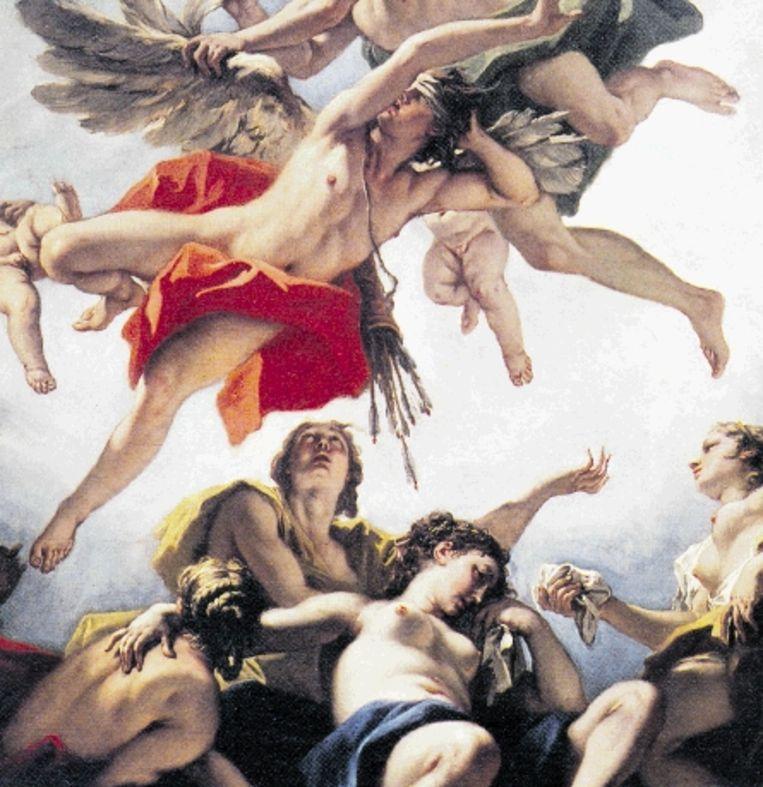Goden en mensen, innig verstrengeld in 'De straf van Amor' (1706-1707) van Sebastiano Ricci. (Trouw) Beeld