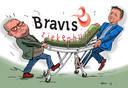 De wethouders Patrick van der Velden (l.) van Bergen op Zoom en Toine Theunis van Roosendaal zien allebei graag dat de nieuwbouw van Bravis in hun eigen gemeente neerstrijkt.
