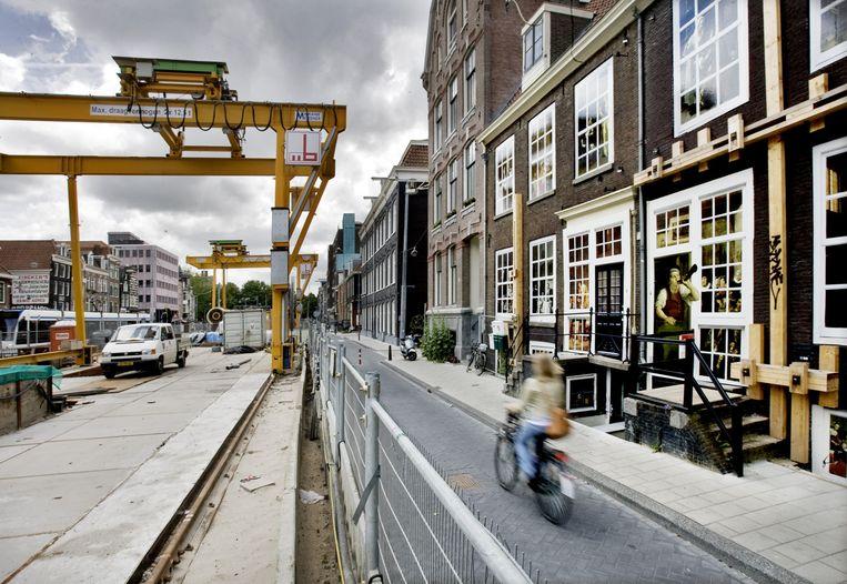 De Noord-Zuidlijn aan de Amsterdamse Vijzelgracht. Beeld anp