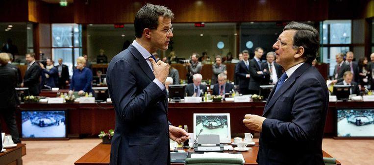 Mark Rutte en José Manuel Barroso. Beeld anp