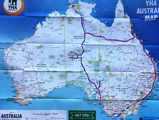 Mijn route door Australië.