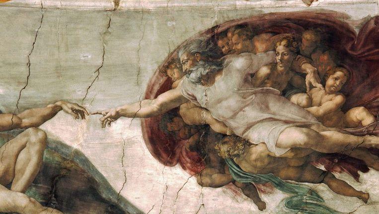 Adam reikt naar de hand van God, door Michelangelo (1512), op het plafond van de Sixtijnse Kapel in het Vaticaan. Beeld