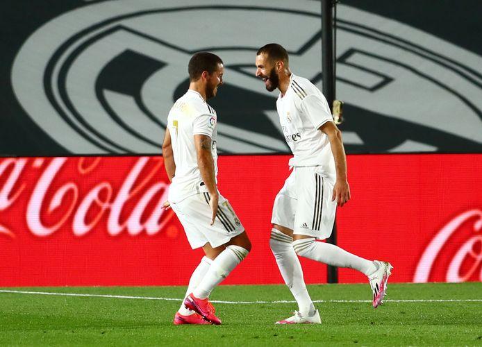 Karim Benzema (R) en Eden Hazard.