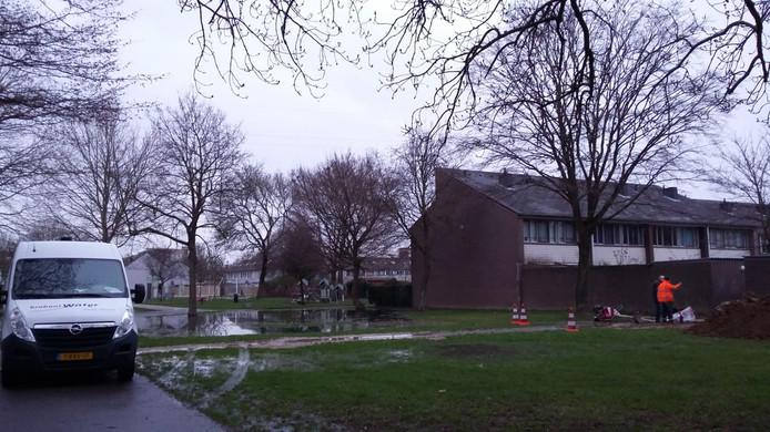 De groenstrook tussen de Eerste en Derde Hambaken staat compleet onder water door lekkages.