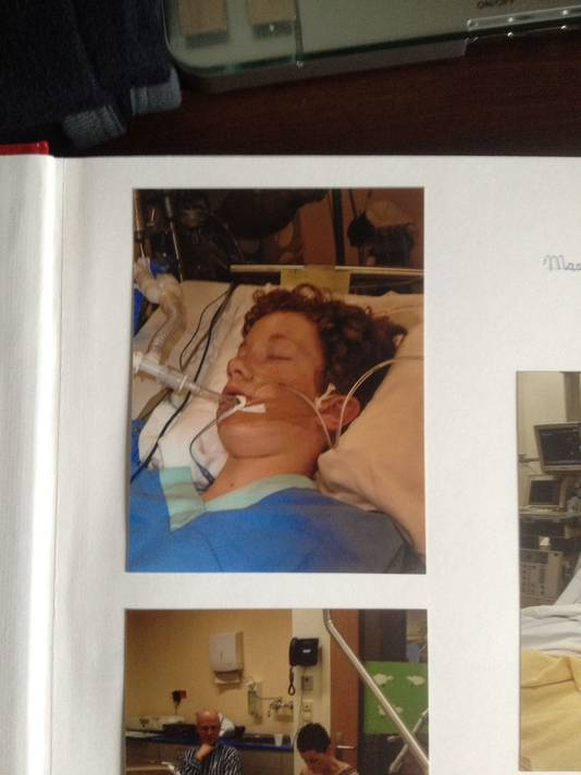 Daan Krake op 5 februari, één dag na zijn val door het dak van een loods
