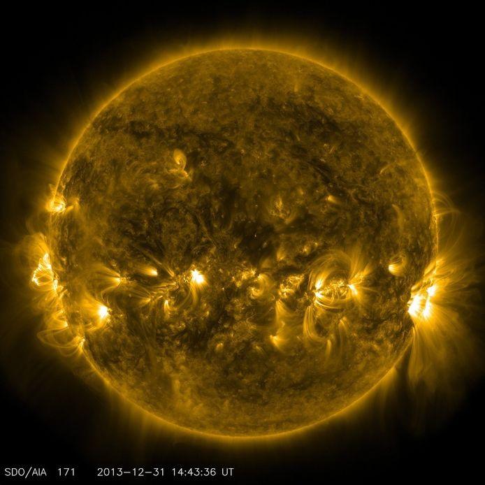 Een foto van de Zon op 31 december, vrijgegeven door NASA