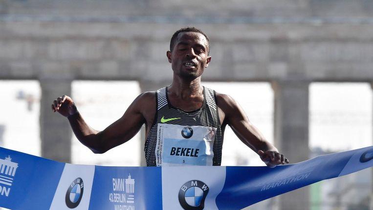 Kenenisa Bekele bij de finish. Beeld afp