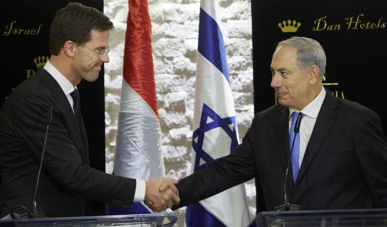 Premier Mark Rutte en zijn Israelische collega Benjamin Netanyahu Beeld anp