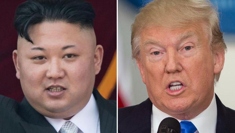 De Noord-Koreaanse leider Kim Jong-un en de Amerikaanse president Donald Trump.