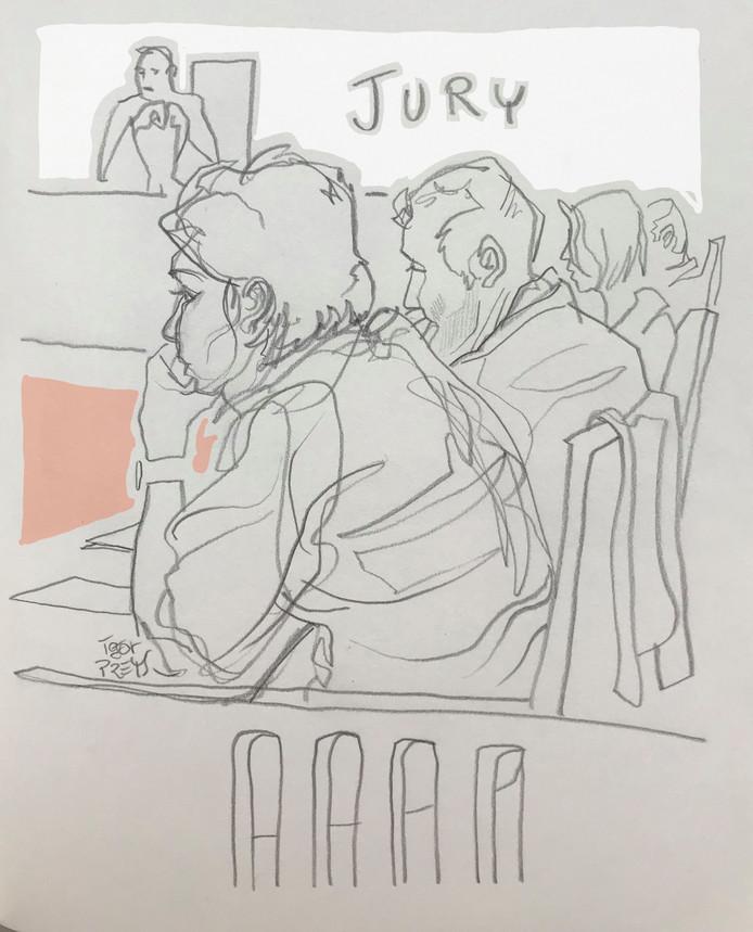 Rechtbanktekening van Igor Preys van de jury in de Belgische rechtbank.