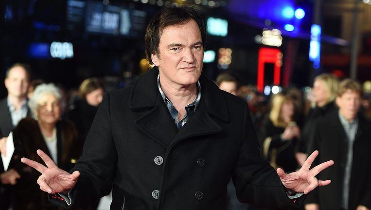 Quentin Tarantino bij de Europese premiere van 'The Hateful Eight' in Londen. Beeld EPA