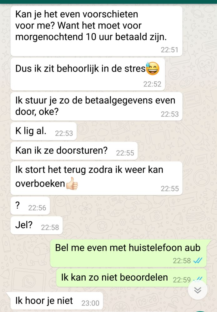 Whatsapp-fraude: Iemand doet zich voor als vriend of familielid en vraagt om iets voor te schieten.