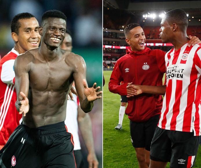 Vreugde bij Feyenoord en PSV na de Europese overwinningen van gisteravond.