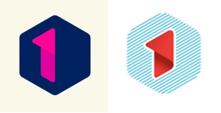 Links: het logo van Eén. Rechts: het logo van Hasselt 1.