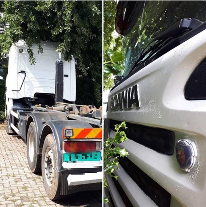 De Scania-vrachtwagen die werd gebruikt