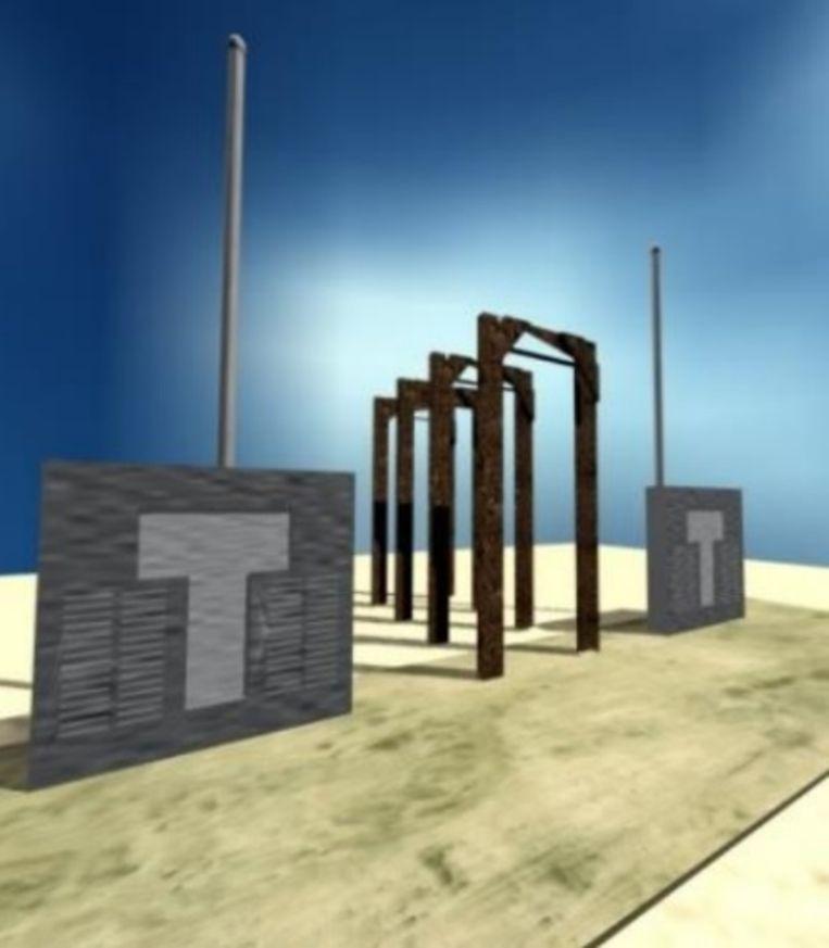Het herdenkingsmonument voor Britse en Australische soldaten, waarvan hier een conceptbeeld te zien is, komt er niet.