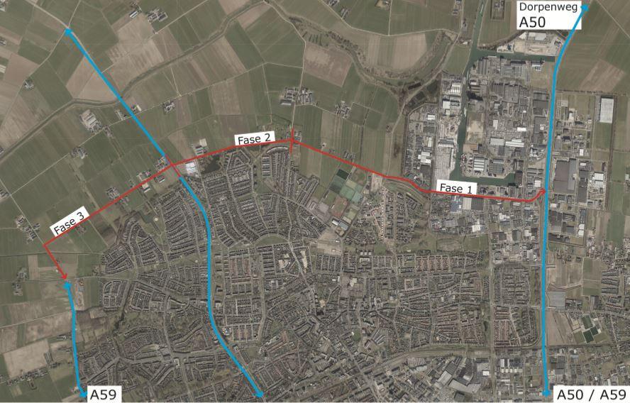 De randweg wordt in deze drie fases aangelegd.
