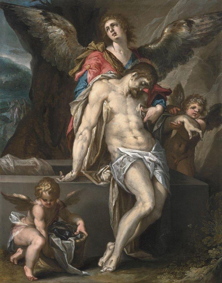 Het schilderij 'Engelen dragen het lichaam van Christus' van Bartholomeus Spranger, 1587. Beeld Rijksmuseum