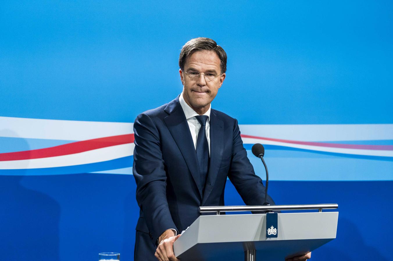 Minister-president Mark Rutte tijdens een persconferentie na de wekelijkse ministerraad.