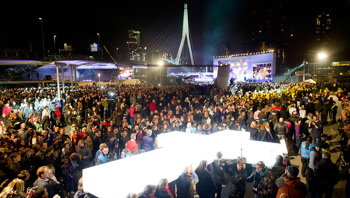 Een beeld uit 2012 van The Passion in het centrum van Rotterdam.