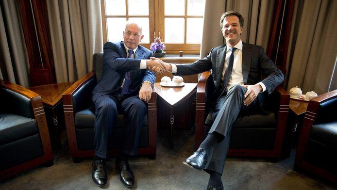 Oekraïens premier Mykola Azorov op bezoek bij Mark Rutte.