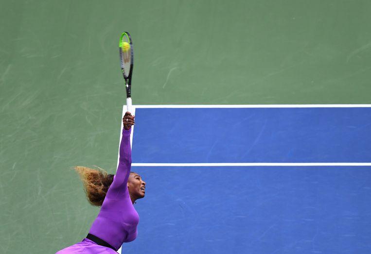 Serena Williams zaterdag in de finale van de US Open. Beeld AFP
