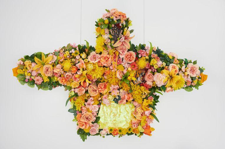 Een kunstwerk van Devan Shimoyama, February II, 2019. Te zien in Het Nieuwe Instituut.  Beeld Het Nieuwe Instituut