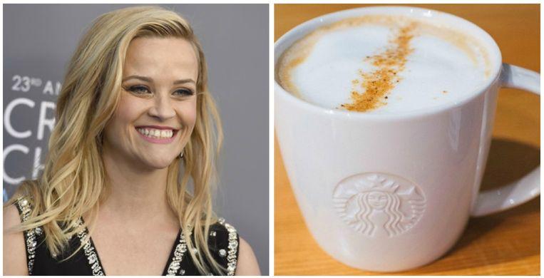 Reese Witherspoon drink soja-latté's met amandelsmaak.