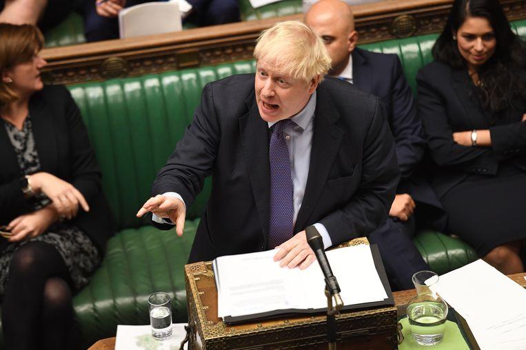 Johnson in het Lagerhuis. Beeld EPA