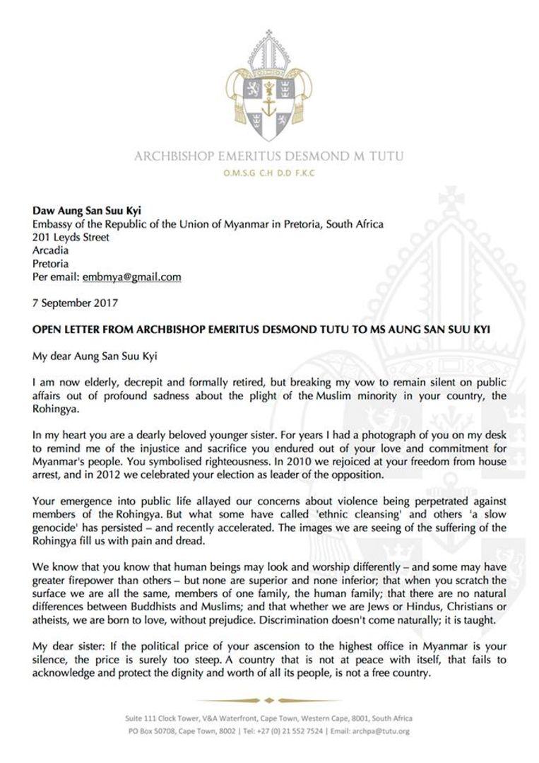 Bisschop Tutu's brief Beeld Foto Facebook