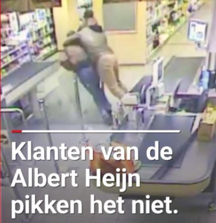 Een klant kan  het niet aanzien dat voor zijn ogen een overvaller met een mes de caissière van Albert Heijn in Mill overvalt en grijpt in. Hij krijgt meteen hulp van andere klanten en personeel.