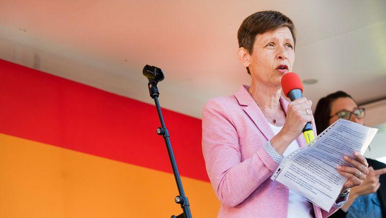 Tanja Ineke tijdens een demonstratie tegen homogeweld. Beeld anp