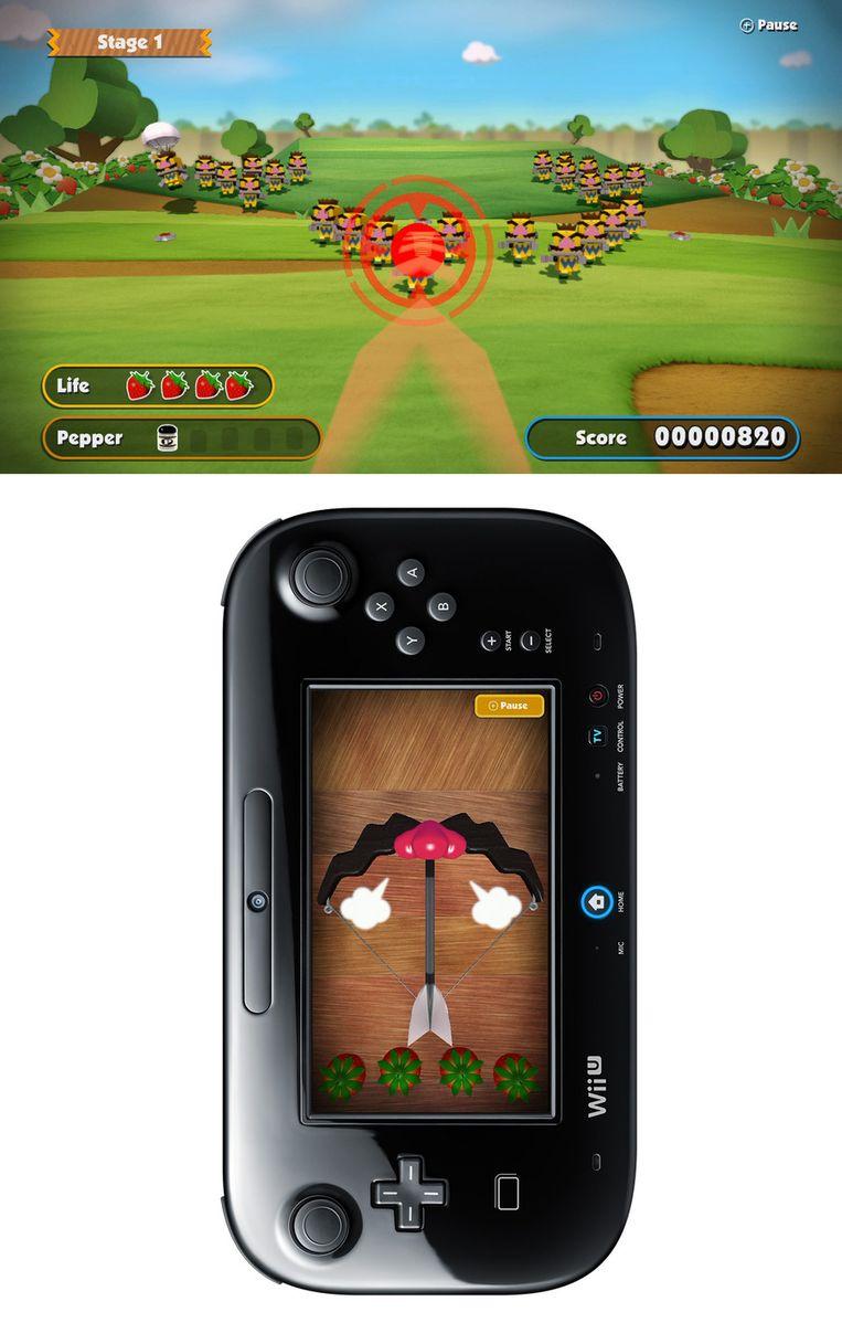 In een minispel in 'Game & Wario' moet je pijlen afvuren met de controller.