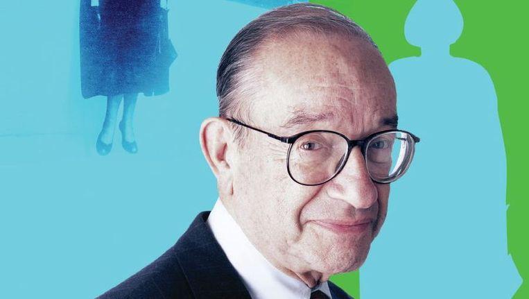 Het gezicht van het falende kapitalisme en de crisis: Alan Greenspan. Stond zijn inspirator Ayn Rand achter hem toen hij de greep verloor op het financiële stelsel in de VS? Beeld  Foto's CORBIS - Montage Anita Huisman